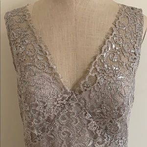 BCBG SILVER LACE DRESS LINED 8 bcbgmaxazria